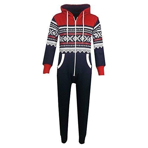 unisex-kids-aztec-snowflake-hooded-onesie-navy-red-13-years
