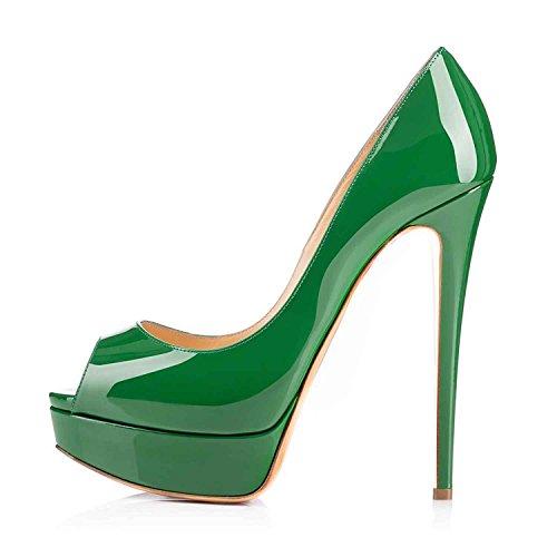 Arc-en-Ciel pattini della piattaforma delle donne tacco alto peep toe-green-us12