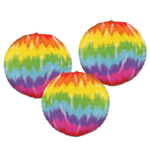 Beistle 54564 Tie-Dyed Paper Lanterns, 91/2-Inch (Tie Dye Decorations compare prices)