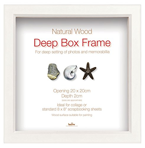 Box Frame Bilderrahmen in Natur Weiß quadratischer Objektrahmen Foto Rahmen: Farbe: Weiß   Format: 7,5x7,5