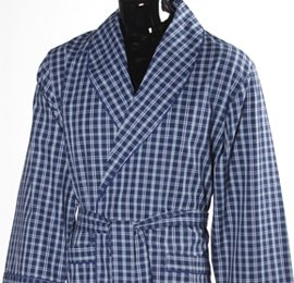 Men's Lightweight Cotton Dressing Gown - Navy and Yellow Check