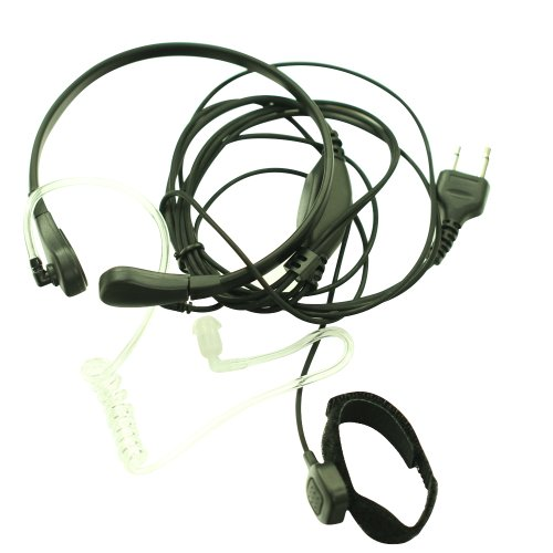 Throat Mic Microphone Covert Acoustic Tube Earpiece Headset With Finger Ptt For 2-Pin Icom Maxon Yaesu Vertex Radio