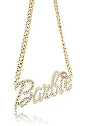 "Iced Out Gold & Silver Nicki Minaj Barbie Pendant w/ 20""Chain"