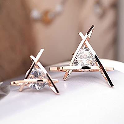 findout ladies rose gold plated swarovsky element crystal diamond triangle earrings .for women girls