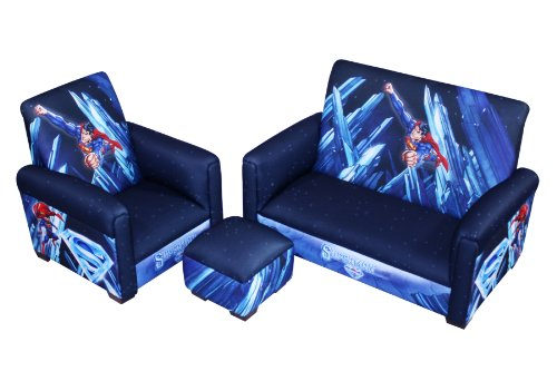 Warner Brothers Superman Power Up Sofa Chair And Ottoman Set Tobias Moellerdas