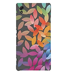 Colourful Leaf Pattern 3D Hard Polycarbonate Designer Back Case Cover for Sony Xperia Z4
