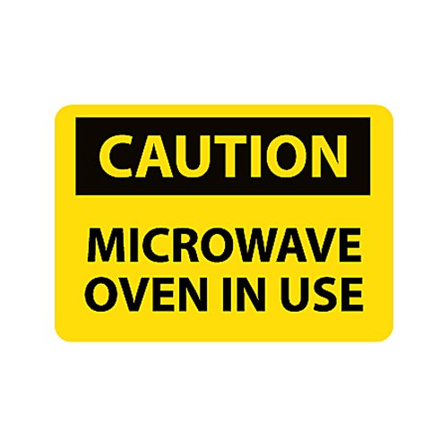 "Nmc C180P Osha Sign, Legend ""Caution - Microwave Oven In Use"", 10"" Length X 7"" Height, Pressure Sensitive Vinyl, Black On Yellow"