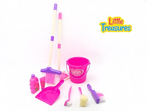Little Helper - Learning cleaning pretend play toy set for 3+ kids; bucket, dust pan, broom, brush, duster, sponge mop and soap bottles in an educational game for preschoolers (Purple Broom Set compare prices)
