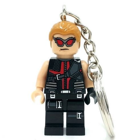 [Hawkeye Clint Barton Super Heroes Minifigures Keychain Building Blocks Bricks Size 4.5 cm no orignial box,new in sealed] (Jessica Jones Marvel Costume)