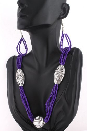 Ladies Purple Egyptian Style Earrings and Pendant Necklace Jewelry Set