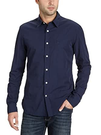 Dockers - The Laundered Poplin Shirt Ls - Chemise - Coton - Homme - Bleu (0072 Solid Peacoat) - FR: Small (Taille fabricant: 48)