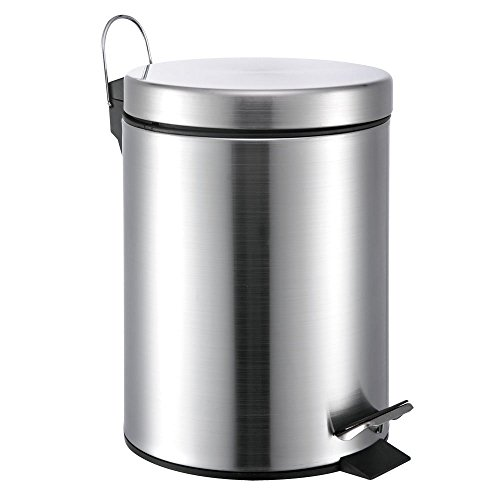 5 Liter/1.3 Gallon Small Round Stainless Steel Step Trash Can (SilverII) (Stainless Steel Trash Can 5 Liter compare prices)