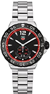 Stainless Steel Formula 1 Quartz Alarm Black Dial Date Display Red Tone Inner Bezel