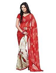 Indian Designer Sari Classy Floral Printed Faux Georgette Saree By Triveni