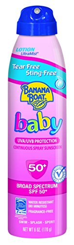 Banana Boat Baby Sunscreen Ultra Mist Tear-Free Sting-Free Broad Spectrum Sun Care Sunscreen Spray - SPF 50, 6 Ounce (Pack of 3) - 1