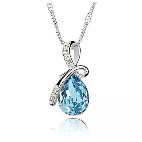 Hot Women Silver Plated Crystal Drop Pendant Necklace Fashion Jewelry