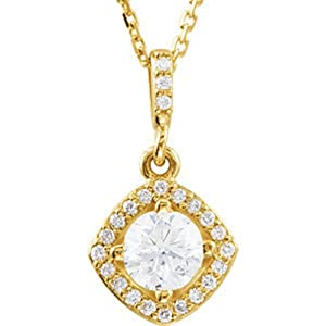 IceCarats Designer Jewelry 14K Yellow Gold 5/8Ctw Dia 18 Inch Necklace 05.20 Mm 18 Inch