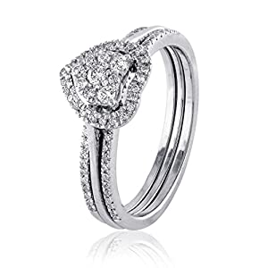 0.33 CT. Natural Diamond Bridal Collection 18K White Gold Engagement Ring Set With Matching Wedding Band