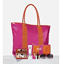Big Sale Elizabeth Arden Sizzling Hot Summer Tote Gift 6 pieces includes 4 eyeshadows, sunblush, bronzing powder, eight hour cream, creamide lash ectending treatment mascara - black, lipstick, sunglasses. tote bag and mini bag