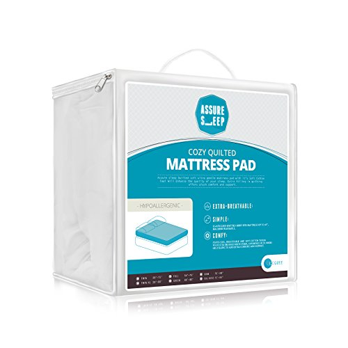 Lowest Price! Queen Size Assure Sleep Plush, Quilted Hypoallergenic, Mattress Pad - Vinyl Free