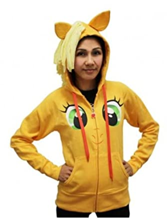 My Little Pony Applejack Face Juniors Orange Costume Hoodie with Mane (Juniors Large)