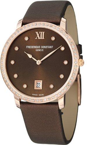 Frederique Constant Slim Line Marrón Reloj de mujer, Rose Gold-Tone fc-220C4sd34