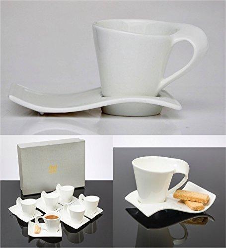 Lot de 12 tasses à café CAPPUCCINO étui dans un coffret cadeau avec 6 tasses en céramique 115 ml et 6 soucoupes-Superbe idée cadeau pour tout