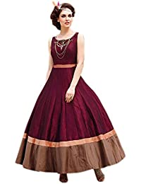 Designer Maroon Colour Taffeta Silk Embroidered Party Wear Semi Stitched Gown