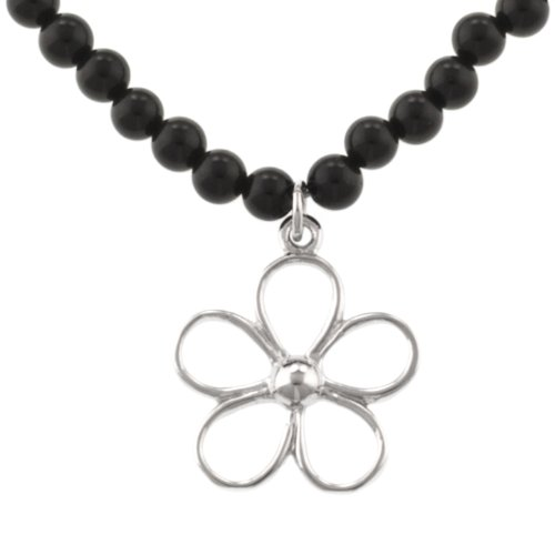 Sterling Silver Flower on Onyx Beaded Necklace, 18""
