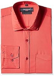 Dennison Men's Formal Shirt (SS-16-383_Coral Red_44)