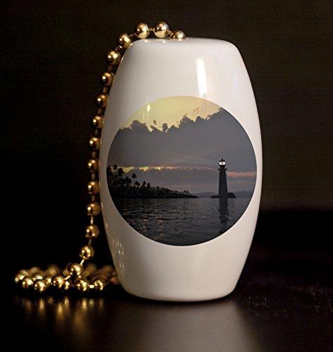 Tropical Lighthouse Porcelain Fan / Light Pull