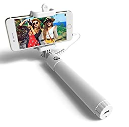 PerfectDay Wired Selfie Stick, Foldable QuickSnap Pro Self-portrait Monopod Extendable with built-in Remote Shutter and Adjustable Phone Holder for Smartphones - White