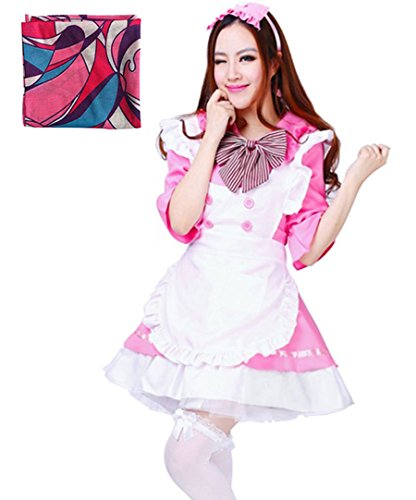 Treasure-box Women's Lolita Dress French Maid Costumes Including a Scarf As Gift