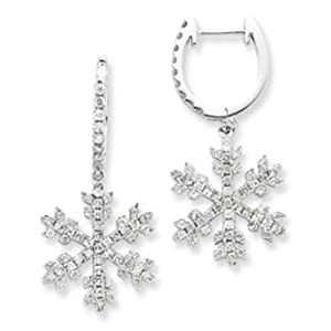 14k Gold White Gold Diamond Snowflake Earrings