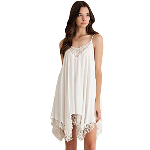Tenworld Women Irregular Hem Mini Dress Thin Backless Lace Chiffon Party Dress