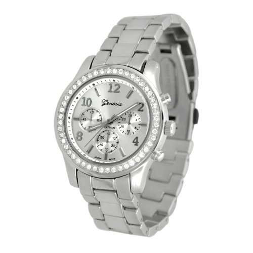 Geneva Chronograph Look Watch with Crystals SilverTone Metal LinkSILMTL Picture