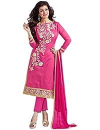 Aryan Fashion Designer Navy Pink & Cream Chanderi Cotton Embroidered Semi-Stitched Straight Suit For Women & Girls...