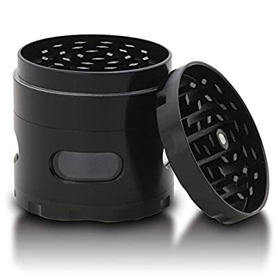 DCOU New Design Premium Grinder 2.2 Inches 4 Piece with Pollen Catcher Durable Zinc Alloy Grinder Spice Grinder (Black) from DCOU
