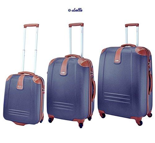 Set tre Trolley DIELLE. ABS e Policarbonato, Blu, 53, 66 e 76 cm. TSA. Garanzia 2 anni.