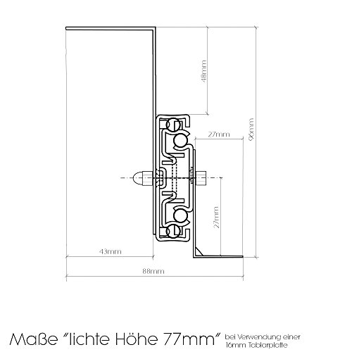 eisenron auszugschienen fr tastaturauszug untertischmontage 40cm x 77cm m belrado. Black Bedroom Furniture Sets. Home Design Ideas