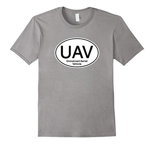Mens-UAV-Unmanned-Aerial-Vehicle-Drone-RC-Pilot-Tshirt-Large-Slate
