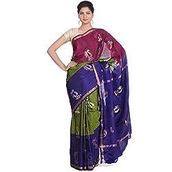 Indian Artizans Green & Ink Blue Pure Silk Uppada Jamdani Saree