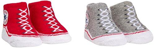 converse-2-pk-bootie-linsieme-dei-vestiti-unisex-bimbi-converse-red-vintage-grey-heather-0-6-mesi
