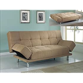 iHome Decoration | Taupe Micro Twill Modern Sofa Bed :  micro sofa twill modern