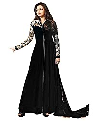 Pal Export Women's Santoon Semi Stitched Dress Material (Pack of 1) (AA17_Black_Free Size)