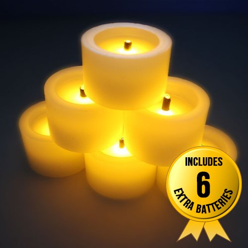 Flameles Candles,Led Battery Powered Candles ~6 Real Wax Mini Votive Black Wick Timing Function