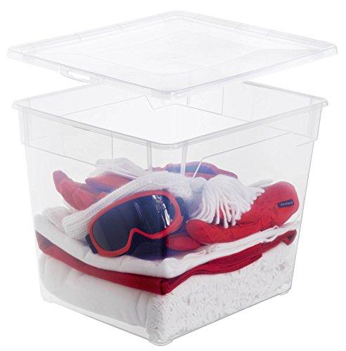 Rotho Aufbewahrungsbox Clear Box Deep Sweater 31 L. von Rotho mit Deckel QR-Code AppMyBox - 31 L. Volumen - (LxBxH) 40x33.5x36 cm - transparent - stapelbar - Kunststoff/Plastik (PP) - Div. Größen