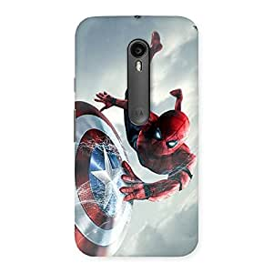 Ajay Enterprises Red Hero With Shield Back Case Cover for Moto G Turbo
