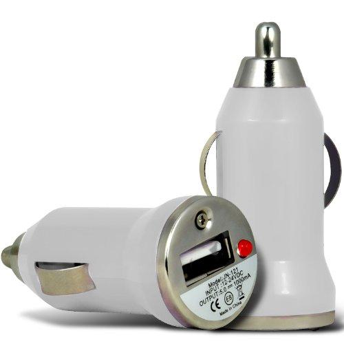 (Bianco) Binatone M250 Big Button Compact Breve viaggio pallottola portatile USB Caricabatteria da auto con la luce del LED di ricarica da i -Tronixs
