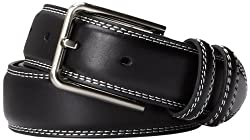 Stacy Adams Men's 35mm Genuine Leather Double Stitched Belt With Keepers, Black, 44